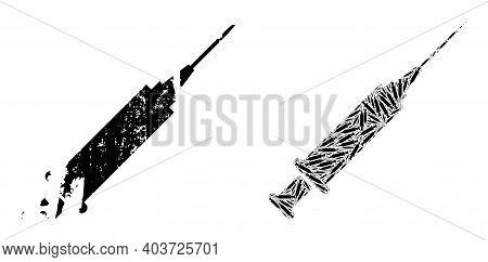 Vector Syringe Fractal Is Done From Random Itself Syringe Pictograms. Scratched Syringe Icon. Fracta