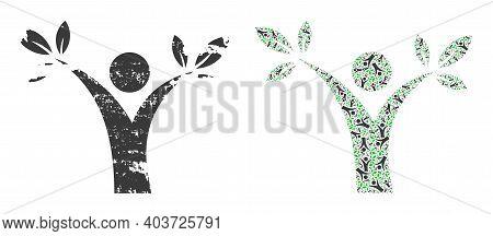 Vector Tree Man Mosaic Is Created From Random Recursive Tree Man Parts. Grunge Tree Man Icon. Recurs