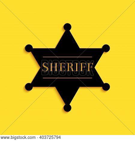 Black Hexagonal Sheriff Star Icon Isolated On Yellow Background. Sheriff Badge Symbol. Long Shadow S