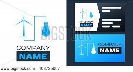 Logotype Wind Mill Turbine Generating Power Energy And Bulb Icon Isolated On White Background. Natur