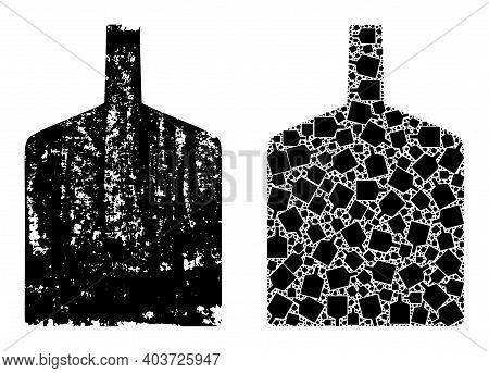 Vector Wide Bottle Collage Is Done From Randomized Fractal Wide Bottle Elements. Textured Wide Bottl