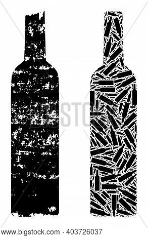 Vector Wine Bottle Collage Is Constructed Of Randomized Recursive Wine Bottle Pictograms. Grunge Win