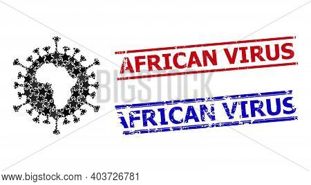 African Virus Star Mosaic And Grunge African Virus Stamps. Red And Blue Stamps With Scratched Surfac
