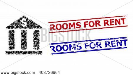 Bank Building Star Mosaic And Grunge Rooms For Rent Seal Stamps. Red And Blue Watermarks With Grunge