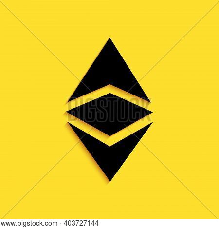 Black Cryptocurrency Coin Ethereum Classic Etc Icon Isolated On Yellow Background. Digital Currency.