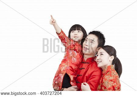 Portrait Of Family, Father Carrying Daugther In Arm, Looking Something, In Tang Suits