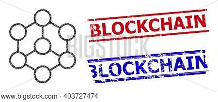 Blockchain Star Mosaic And Grunge Blockchain Seal Stamps. Red And Blue Stamps With Grunge Texture An
