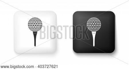 Black And White Golf Ball On Tee Icon Isolated On White Background. Square Button. Vector