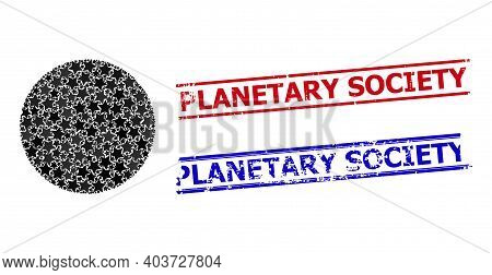Circle Star Mosaic And Grunge Planetary Society Stamps. Red And Blue Seals With Corroded Texture And