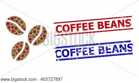 Coffee Beans Star Mosaic And Grunge Coffee Beans Seal Stamps. Red And Blue Stamps With Rubber Style