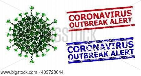 Covid Virus Star Pattern And Grunge Coronavirus Outbreak Alert Seals. Red And Blue Seals With Grunge