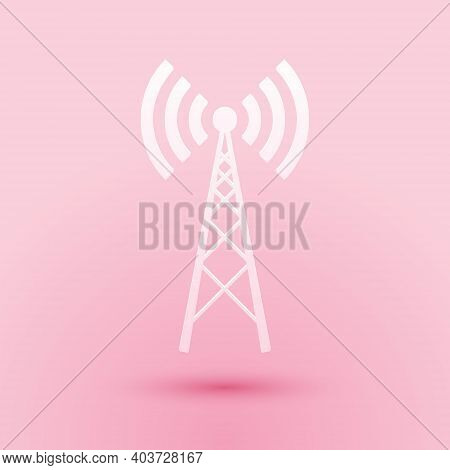 Paper Cut Antenna Icon Isolated On Pink Background. Radio Antenna Wireless. Technology And Network S
