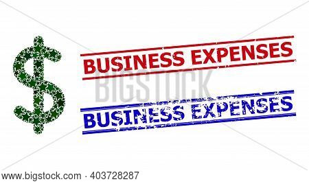 Dollar Sign Star Mosaic And Grunge Business Expenses Seals. Red And Blue Imprints With Scratched Tex