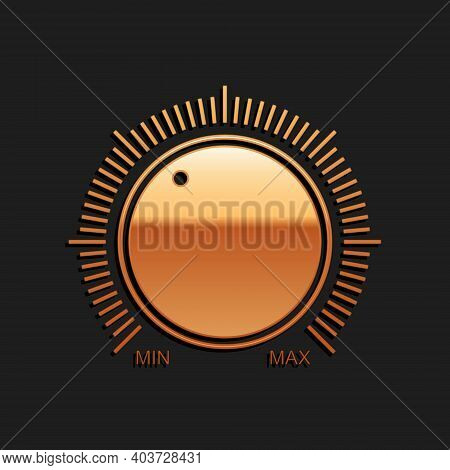 Gold Dial Knob Level Technology Settings Icon Isolated On Black Background. Volume Button, Sound Con