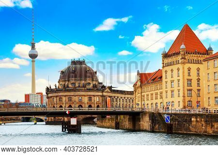 Berlin Cathedral Berliner Dom And Famous Tv Tower With Spree River Against Blue Sky. Berlin, Germany