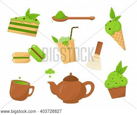 Set Of Matcha Products. Matcha Desserts, Icecream And Drinks. Sweet Vector Icons Isolated On White B