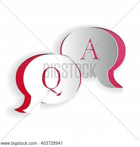 Paper Cut Question And Answer Mark In Speech Bubble Icon Isolated On White Background. Q And A Symbo