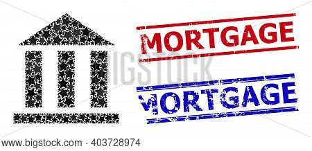 Library Office Star Mosaic And Grunge Mortgage Seals. Red And Blue Imprints With Distress Texture An