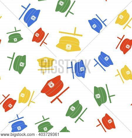 Color Police Cap And Rubber Baton Icon Isolated Seamless Pattern On White Background. Security Trunc