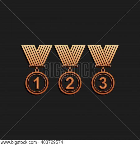 Gold Set Medal Icon Isolated On Black Background. Winner Simbol. Long Shadow Style. Vector