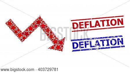 Recession Arrow Star Mosaic And Grunge Deflation Stamps. Red And Blue Stamps With Unclean Style And