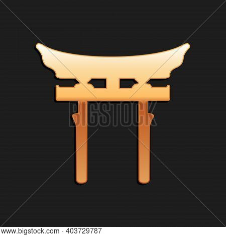 Gold Japan Gate Icon Isolated On Black Background. Torii Gate Sign. Japanese Traditional Classic Gat