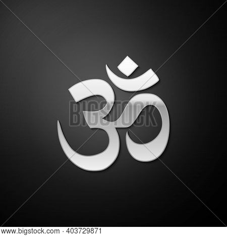 Silver Om Or Aum Indian Sacred Sound Icon Isolated On Black Background. The Symbol Of The Divine Tri