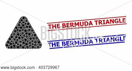 Rounded Triangle Star Mosaic And Grunge The Bermuda Triangle Stamps. Red And Blue Stamps With Grunge