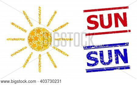 Sun Star Mosaic And Grunge Sun Seals. Red And Blue Stamps With Grunge Style And Sun Word. Abstract S