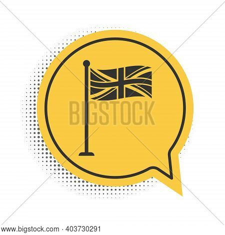 Black Flag Of Great Britain On Flagpole Icon Isolated On White Background. Uk Flag Sign. Official Un
