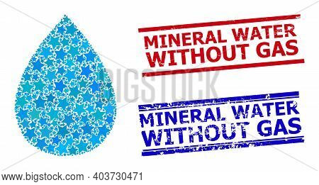 Water Drop Star Mosaic And Grunge Mineral Water Without Gas Stamps. Red And Blue Stamps With Distres