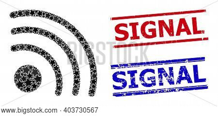 Wi-fi Signal Star Mosaic And Grunge Signal Seals. Red And Blue Watermarks With Grunge Surface And Si