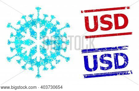Winter Virus Star Mosaic And Grunge Usd Seal Stamps. Red And Blue Stamps With Distress Texture And U