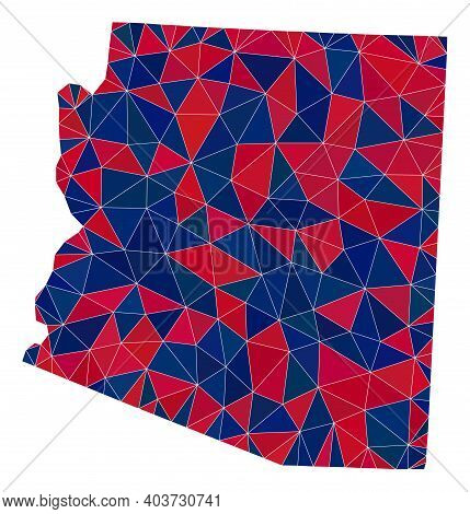 Vector Triangle Mosaic Map Of Arizona State In American Flag Colors, Blue And Red. Geographic Plan I
