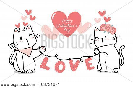 Cute Valentine Cat Couple With Heart Love, Happy Valentine's Day, Cute Cat Cartoon Outline Pink Hear