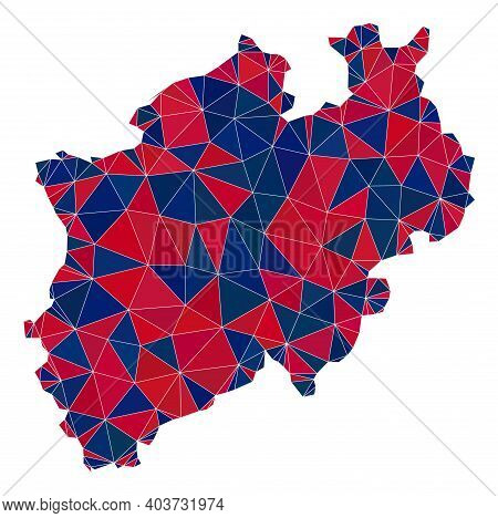 Vector Triangle Mosaic Map Of North Rhine-westphalia State In American Flag Colors, Blue And Red. Ge