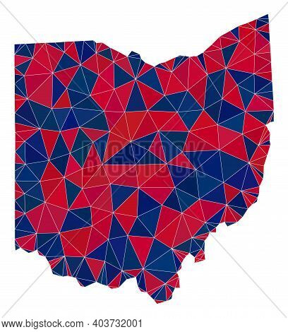 Vector Triangle Mosaic Map Of Ohio State In American Flag Colors, Blue And Red. Geographic Scheme In