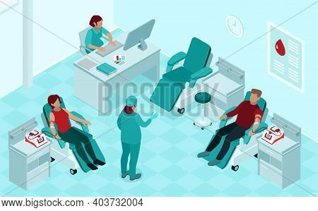 Blood Donation Procedure Isometric Compositions With Donors In Reclining Chairs Listening To Nurse I