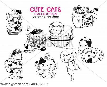 Cute Kitten Cat Outline Collection For Coloring Book Printable, Svg, Sublimation, Greeting Card, T S