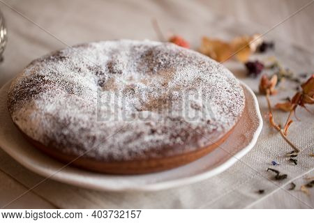 Delicious Culinary Dessert - Brownie Cake. Stack Of Chocolate Brownies On White Background, Homemade