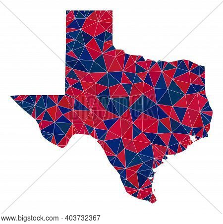 Vector Triangle Mosaic Map Of Texas State In American Flag Colors, Blue And Red. Geographic Collage