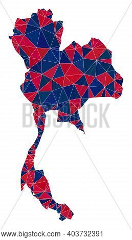 Vector Triangle Mosaic Map Of Thailand In American Flag Colors, Blue And Red. Geographic Plan In Blu