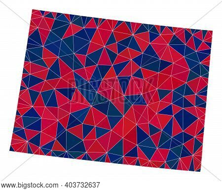 Vector Triangle Mosaic Map Of Wyoming State In American Flag Colors, Blue And Red. Geographic Scheme