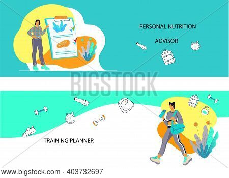 Flyers Or Banners Set On Topic Of Weight Loss And Healthy Activity, Vector Illustration.