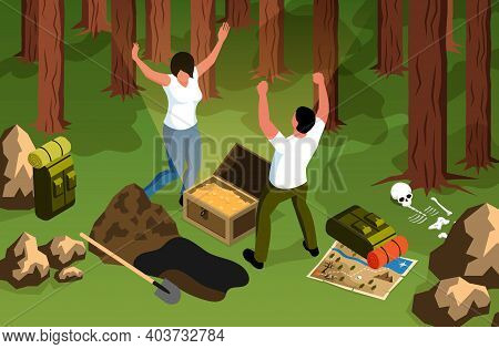 Isometric Treasure Hunt Horizontal Composition With Forest Scenery And Characters Of Happy Finders W