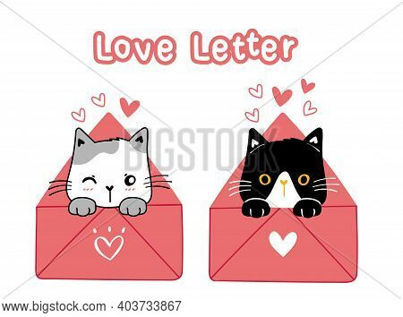 Cute Valentine Cat Black And White In Pink Love Letter, Cartoon Illustration Doodle Hand Drawn Vecto