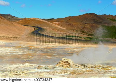 The View Of Smoking Ground At Namafjall Hverir Geothermal Area In The Summer Near Lake Myvatn, Icela