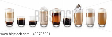 Coffee Drinks Realistic Set With Latte And Americano Isolated Vector Illustration