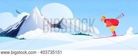 Ski Resort Composition With Alpine Skiing Symbols Flat Vector Illustration