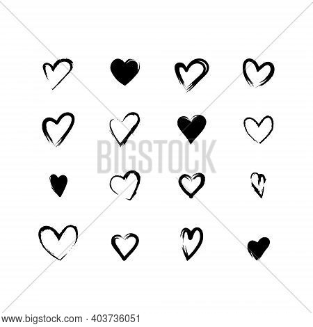 Set Of Simple Black Vector Heart Icons, For Valentines Day And Wedding. Thin Line, Outline And Shape